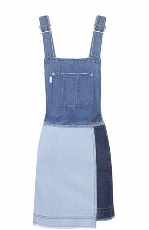 Джинсовое мини-платье на бретельках Steve J & Yoni P. Цвет: голубой