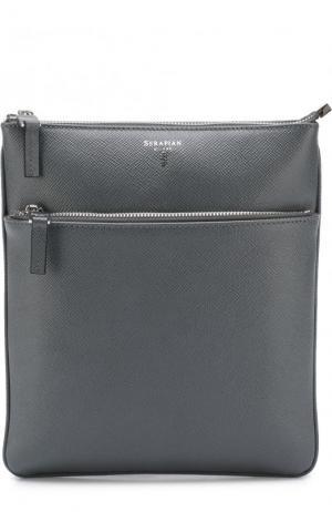 Кожаная сумка-планшет с внешним карманом на молнии Serapian. Цвет: серый