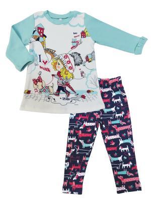 Комплект (туника+брюки эластичные), Прогулка с Мими Sonia kids. Цвет: бирюзовый, белый, темно-синий