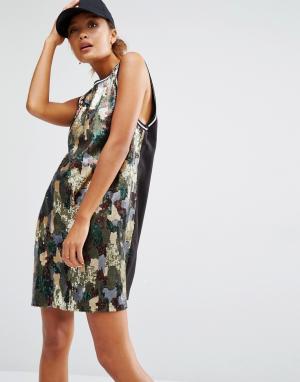 Daisy Street Длинное платье-майка с отделкой пайетками в камуфляжном стиле St. Цвет: мульти
