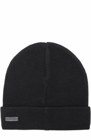 Шерстяная шапка бини Z Zegna. Цвет: черный