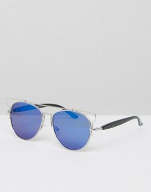 7X Солнцезащитные очки-авиаторы. Цвет: черный
