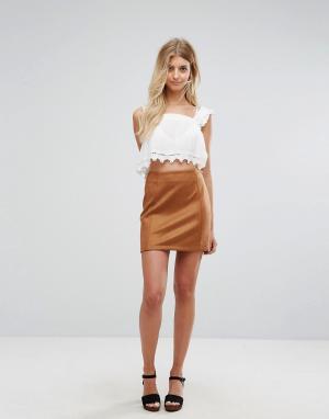 New Look Светло-коричневая мини-юбка из искусственной замши. Цвет: рыжий