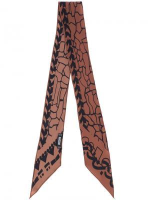Шарф с вышивкой Rockins. Цвет: коричневый