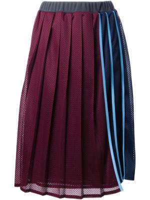 Плиссированная юбка в полоску Muveil. Цвет: красный