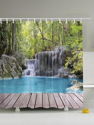 Фотоштора для ванной На пристани, 180*200 см Magic Lady. Цвет: серый, голубой, белый, зеленый