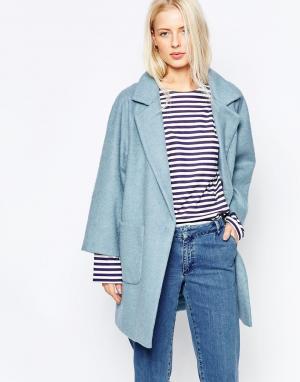 Ganni Голубое пальто Inglewood. Цвет: синий
