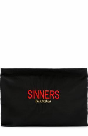 Текстильный клатч Explorer с вышивкой Balenciaga. Цвет: черный