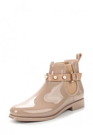 Резиновые полусапоги Ideal Shoes. Цвет: бежевый