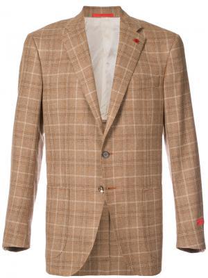 Клетчатый пиджак Isaia. Цвет: коричневый