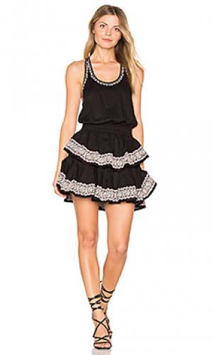 Мини платье спортивного типа с рюшами LoveShackFancy. Цвет: черный
