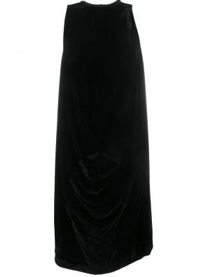 Бархатное платье с драпировками Rick Owens. Цвет: чёрный
