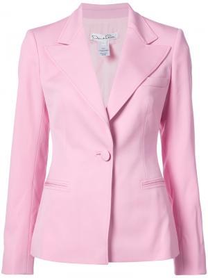 Однобортный пиджак Oscar de la Renta. Цвет: розовый и фиолетовый
