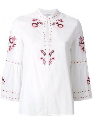 Блузка с цветочной вышивкой Vilshenko. Цвет: телесный
