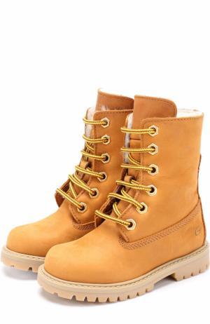 Кожаные ботинки с внутренней меховой отделкой Gallucci. Цвет: бежевый