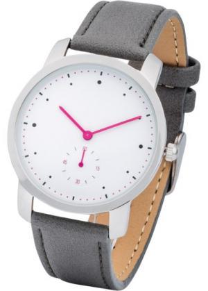 Часы с контрастными стрелками (серый/ярко-розовый) bonprix. Цвет: серый/ярко-розовый