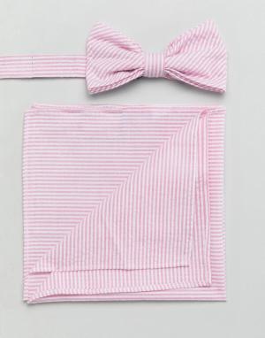 Gianni Feraud Галстук-бабочка и платок для нагрудного кармана из легкой жатой ткани. Цвет: розовый