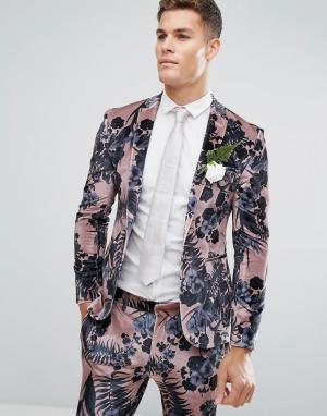 ASOS Розовый бархатный облегающий пиджак с цветочным принтом Wedding. Цвет: розовый