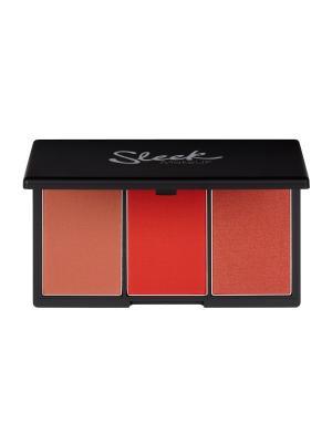Румяна в палетке  BLUSH BY 3 Flame 365 Sleek MakeUp. Цвет: красный, бронзовый, персиковый