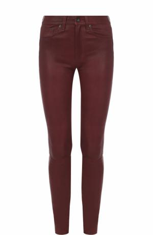 Однотонные кожаные брюки-скинни Rag&Bone. Цвет: бордовый