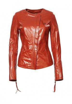 Куртка кожаная Grafinia. Цвет: оранжевый