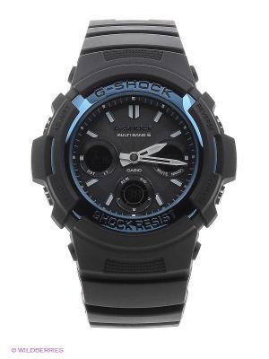 Часы G-SHOCK AWG-M100A-1A CASIO. Цвет: черный, голубой