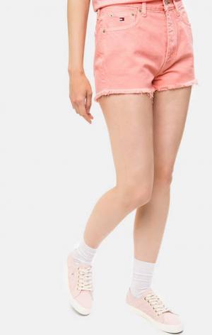 Джинсовые шорты с высокой посадкой Hilfiger Denim. Цвет: розовый