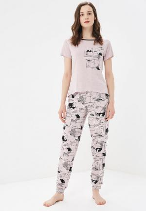 Пижама Marks & Spencer. Цвет: розовый