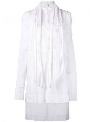 Pleated high low dress Masnada. Цвет: белый