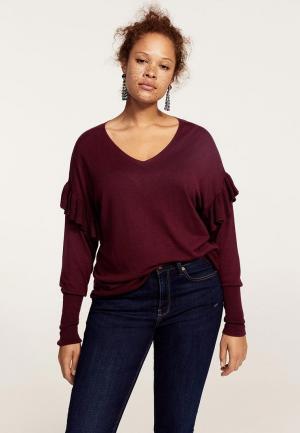 Пуловер Violeta by Mango. Цвет: бордовый