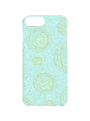 Чехол для iPhone 7Plus Нежно-голубой принт Арт. 7Plus-110 Chocopony. Цвет: голубой, зеленый