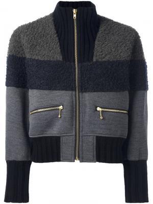 Куртка-бомбер с контрастными панелями Kolor. Цвет: серый