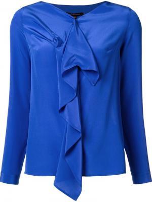 Блузка с V-образным вырезом и оборками Walter Voulaz. Цвет: синий