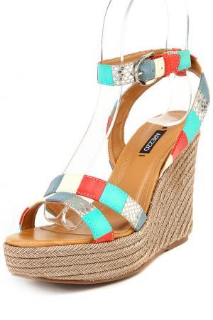 Туфли летние открытые Arezzo. Цвет: мультицвет