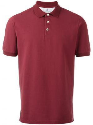 Классическая футболка-поло Brunello Cucinelli. Цвет: красный