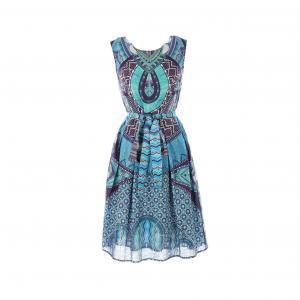Платье короткое, без рукавов, с рисунком RENE DERHY. Цвет: наб. рисунок синий