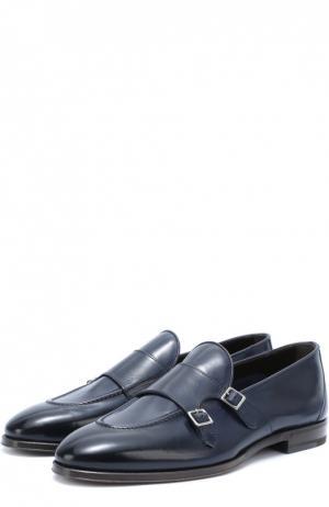 Кожаные монки с двумя пряжками H`D`S`N Baracco. Цвет: темно-синий