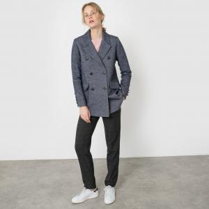 Пальто-бушлат из меланжевого трикотажа La Redoute Collections. Цвет: синий меланж