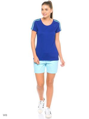 Футболка спортивная Adidas. Цвет: синий