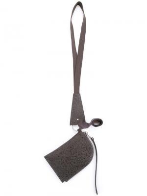 Кошелек с ремешком на шею Rick Owens. Цвет: серый