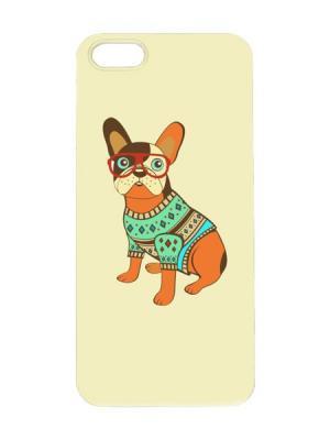 Чехол для iPhone 5/5s Бульдог в свитере Арт. IP5-033 Chocopony. Цвет: желтый, зеленый, коричневый