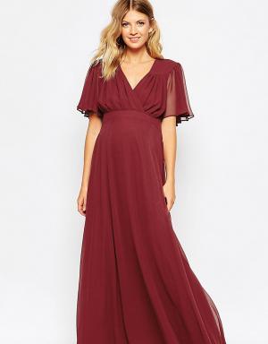 ASOS Maternity Платье макси для беременных в стиле 70‑х с расклешенными рукавами. Цвет: красный