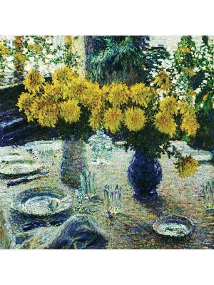 Art Холст Хризантемы  25х25 см DECORETTO. Цвет: белый, синий, желтый