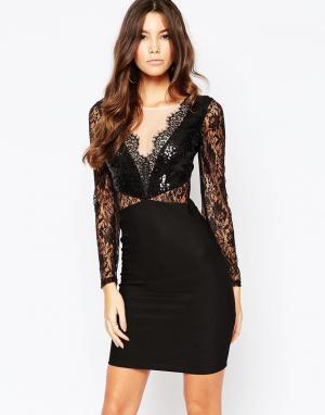 Lipsy Платье мини с кружевом и пайетками Michelle Keegan Loves. Цвет: черный