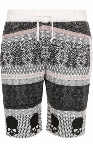 Льняные шорты свободного кроя с принтом Gemma. H. Цвет: белый