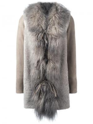 Пальто миди с меховой оторочкой Borbonese. Цвет: телесный