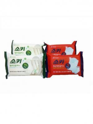 Набор Хозяйственное мыло против трудновыводимых пятен 150 гр. 4 штуки Mukunghwa. Цвет: красный, белый