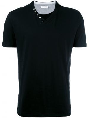 Buttoned V-neck T-shirt Paolo Pecora. Цвет: чёрный