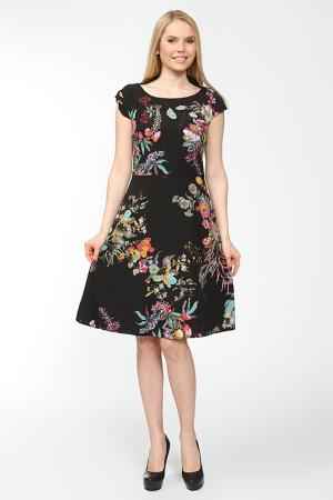 Платье отрезное с вырезом лодочка Arrangee. Цвет: черный
