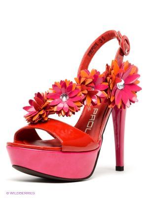 Босоножки GIANCARLO PAOLI. Цвет: красный, фуксия, рыжий